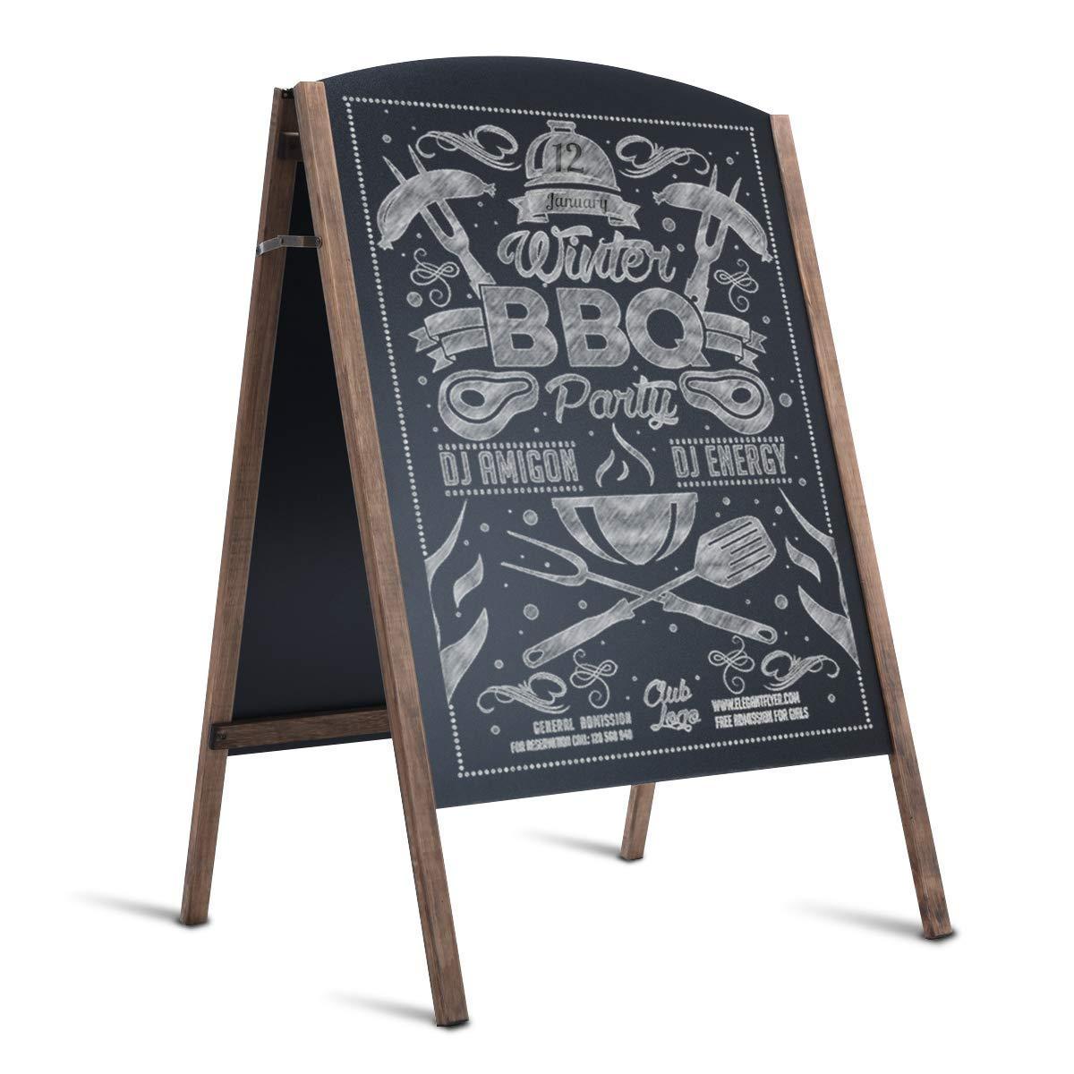 Tangkula A-Frame Chalkboard Office Teaching Rustic Wooden Double-Sided Standing Sidewalk Chalkboard Sign Sandwich Board 25.5 x 40'' (M)
