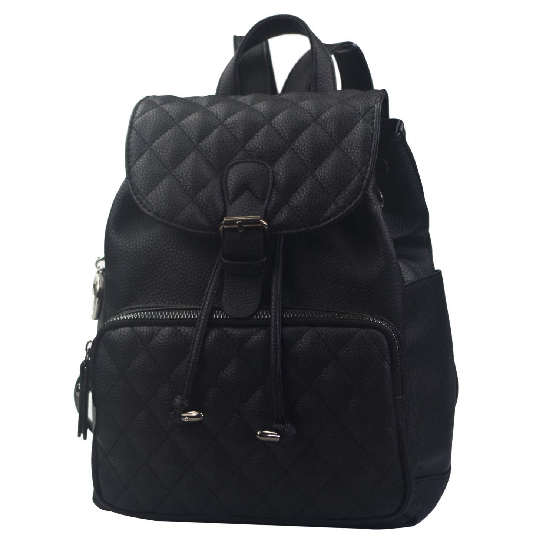 女性縫合ひし形のバックパック防水盗難防止軽量十代の若者たち女の子puレザーショルダー斜めバッグ旅行レディース財布  黒 B07PZB8TG5
