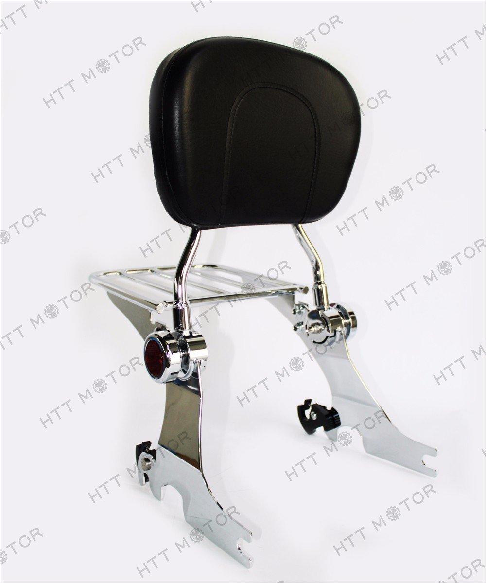 HTTMT- Adjustable Detachable Sissy Bar for 04-UP Harley Sportster Backrest w/ Rack Chrome