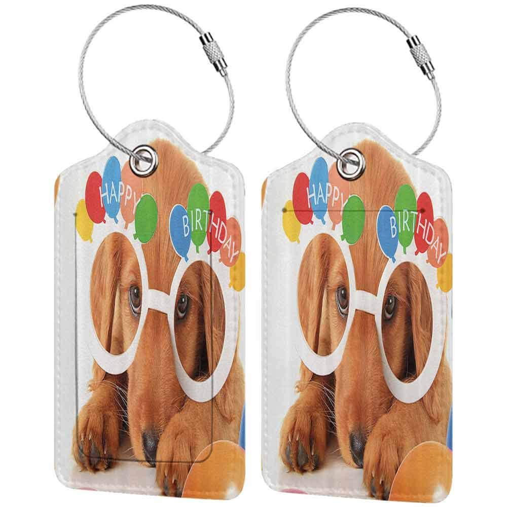 Multi-patterned luggage tag Birthday Decorations for Kids Puppy Dog Golden with Glasses Balloons Present Party Theme Double-sided printing Multicolor W2.7 x L4.6