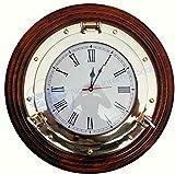 Nagina International 16' Premium Wood Base Nautical Porthole Brass Time's Clock   Wall Decor   Pirates Maritime Gift