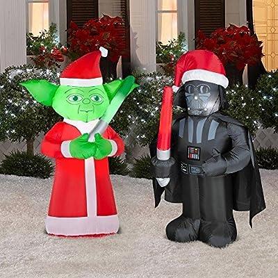 Stars Wars Darth Vader and Yoda Inflatable Christmas Yard Decorations 3.5 Ft