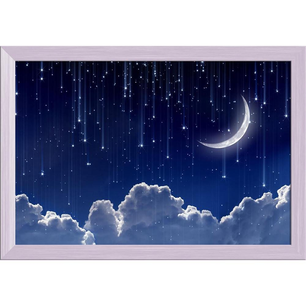 Artzfolio Night Sky With Moon Stars Canvas Painting White Wood Frame 17 X 12inch Amazon In Home Kitchen
