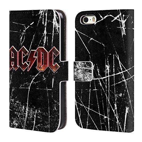 Officiel AC/DC ACDC Grunge Rouge Logo Étui Coque De Livre En Cuir Pour Apple iPhone 5 / 5s / SE