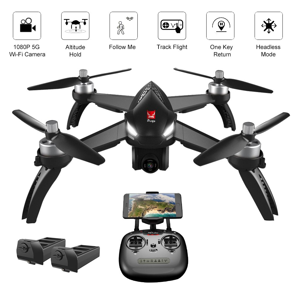 ElementDigital MJX Bugs 5W GPS Drone App IOS Android FPV Drone Kit 1080P  Camera Record Video 1-Key RTH Altitude Hold Track Flight Headless Brushless