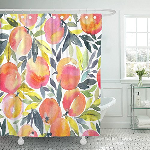 (Emvency Shower Curtain Colorful Peach Bright with Hand Watercolor Peaches Stylish Fruit Design Orange Apricot Waterproof Polyester Fabric 72 x 72 Inches Set with Hooks)