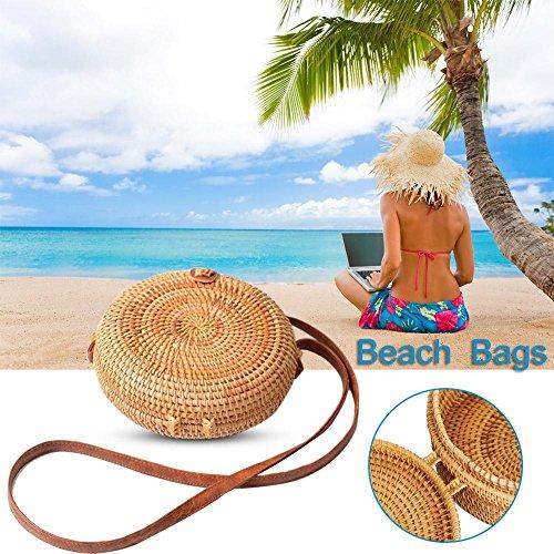 Estate Rotondo Vimini Borsa Colore Donna Unie Borse Spiaggia Retrò Con Tendance Spalla E Facilità 0B65qgnd