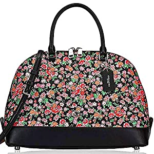 SALE ! New Authentic COACH Elegant Woman's handbag in Black, Pink, multi. Carry 3 ways! by hand, shoulder & crossbody