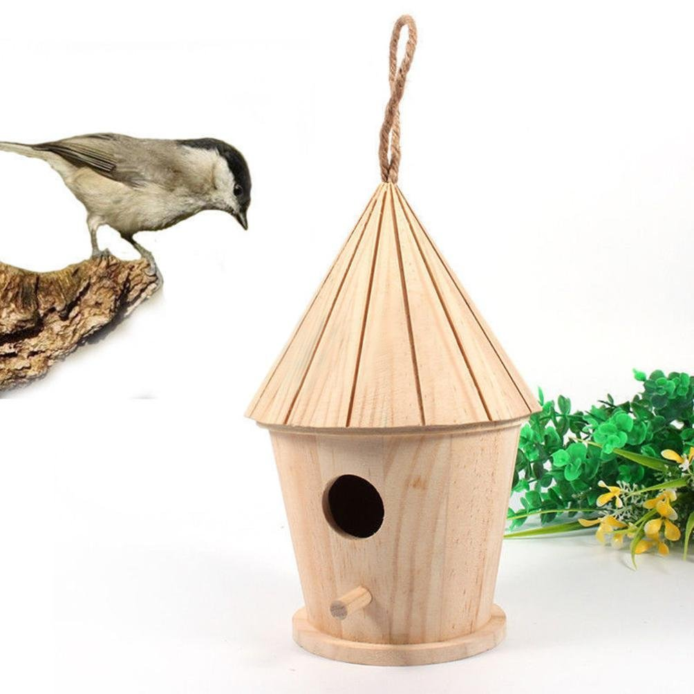 Oldeagle Brown Wooden Nest Bird House, Clear View Window Bird Box, Natural Wood Birdhouse Hanging Decoration