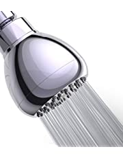 WASSA High Pressure Shower Head - 3″ Anti-clog Anti-leak Fixed Chrome Showerhead - Adjustable Metal Swivel Ball Joint with Filter - Ultimate Shower Experience Even at Low Water Flow & Pressure