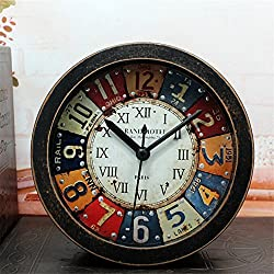 5 inch Black Alarm Clock mulit-Color numbers Vintage Wood Pattern Analog Table Clock Roman numerals Silent Non-ticking Quartz Travel Clock Round Desk Clocks 3D Clock Christmas gift