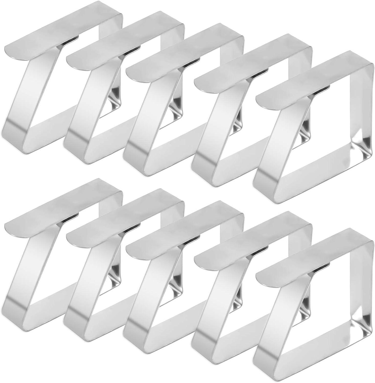 wangjiangda Tischtuchklammer 10 ST/ÜCK Tischdecken Clips aus Edelstahl Silber Metall Verstellbare Tischdeckenhalter Clips Tischtuch Clips Geeignet f/ür Haus Gartenfeste BBQs Partys Buffets