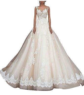 Homdor 2018 Wedding Dresses Long Belt A Line Lace Ivory Bridal Gowns ...