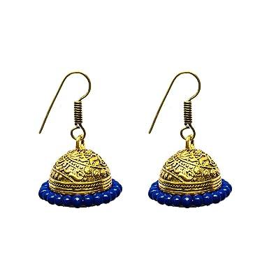 13003a0e9cf Buy Elegant Designs Gold Plated Handmade Traditional Jhumka Earrings ...