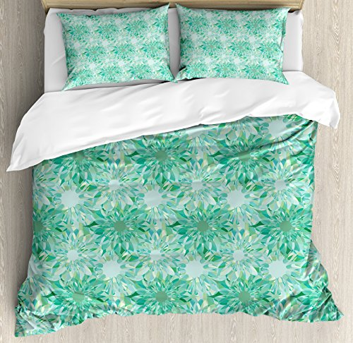 Turquoise Decor Duvet Cover Set by Ambesonne, Floral Pattern With Beryl Crystal Guilloche Flowers Carving Art Decorating Image Print, 3 Piece Bedding Set with Pillow Shams, Queen / Full, Green (Guilloche Pattern)