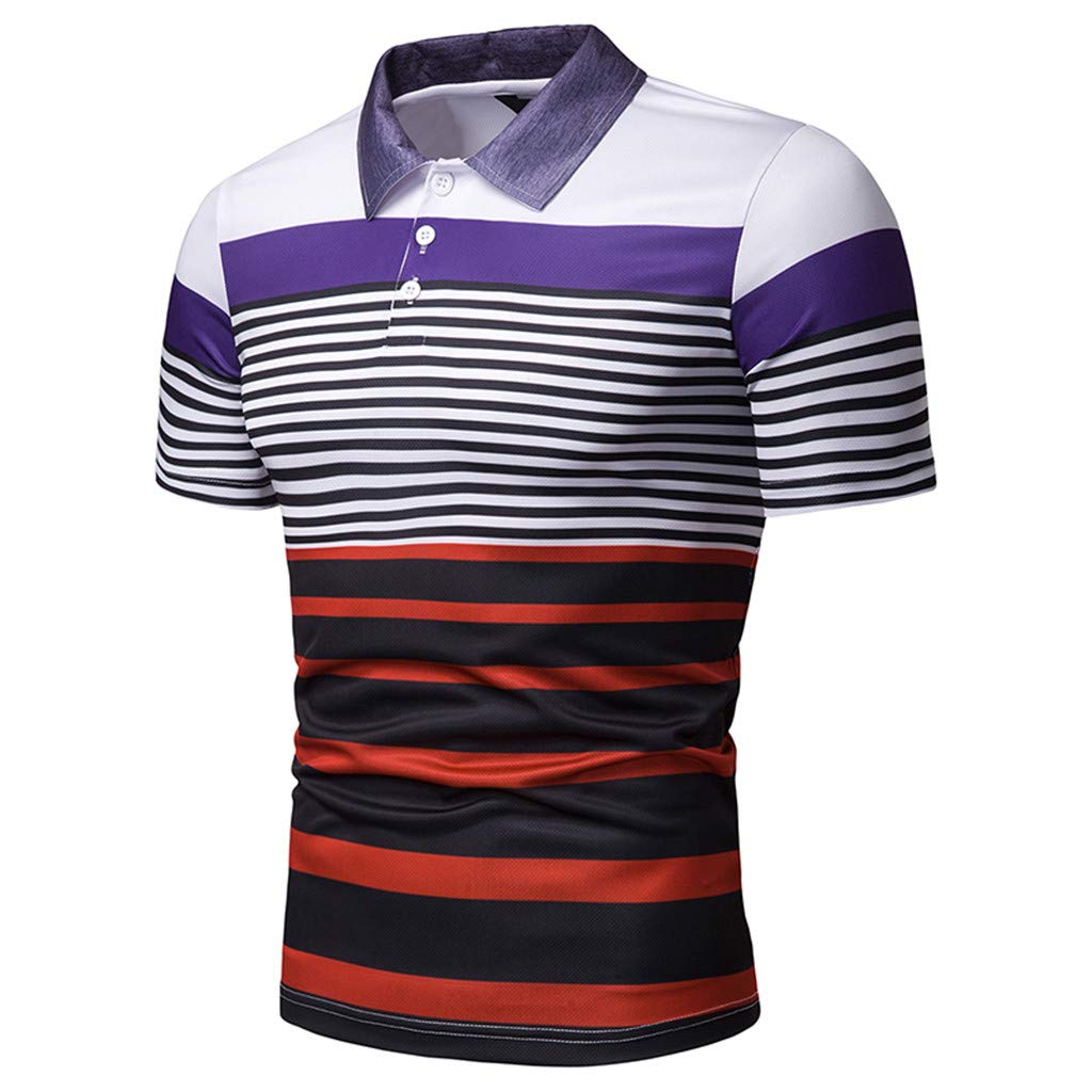 STORTO Mens Colorful Stripe Pique Polo Shirts Short Sleeve T-Shirts Casual Fashion Fit Tops