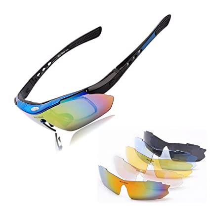 8c26f9ceb7 Wolfbike POLARIZE Sports Cycling Sunglasses with 5 Set Interchangeable Lenses  Blue Frame