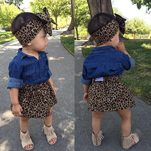 Headband Leopard Girls' Aliven Baby Print Jean 3pc Skirt Blue Leopard Shirt Short P1vqwPHTx