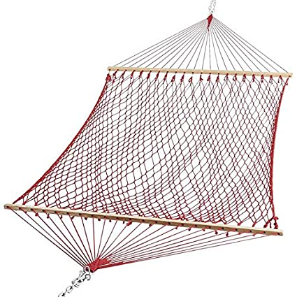 OAK N OAK Polyester Rope Hanging Swing Hammock Furniture or Home Patio Garden, Camping, Beach & Leisure Backyard, 65-inch XL Deluxe (Burgundy)