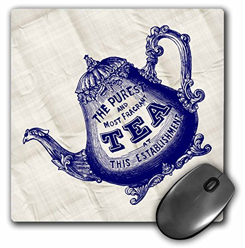 Quilted Effect (Lovely Blue Teapot Woodcut on Quilted Effect Background - Mouse Pad, 8 by 8 inches)