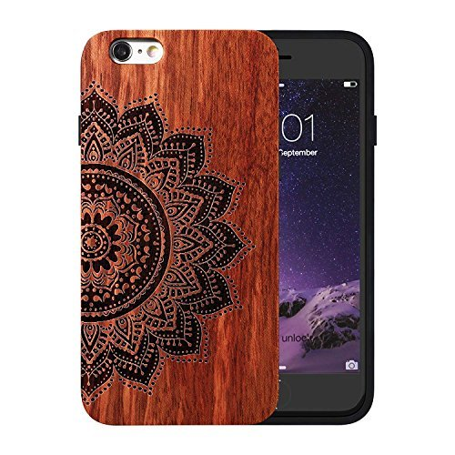 JuBeCo Patterni Design iPhone 6/6s Plus(5.5inch),Handmade Natural Solid Wood Case, Bamboo Case.iPhone Protective Shell (Mandala-Rosewood) (Natural Shell Iphone 6)