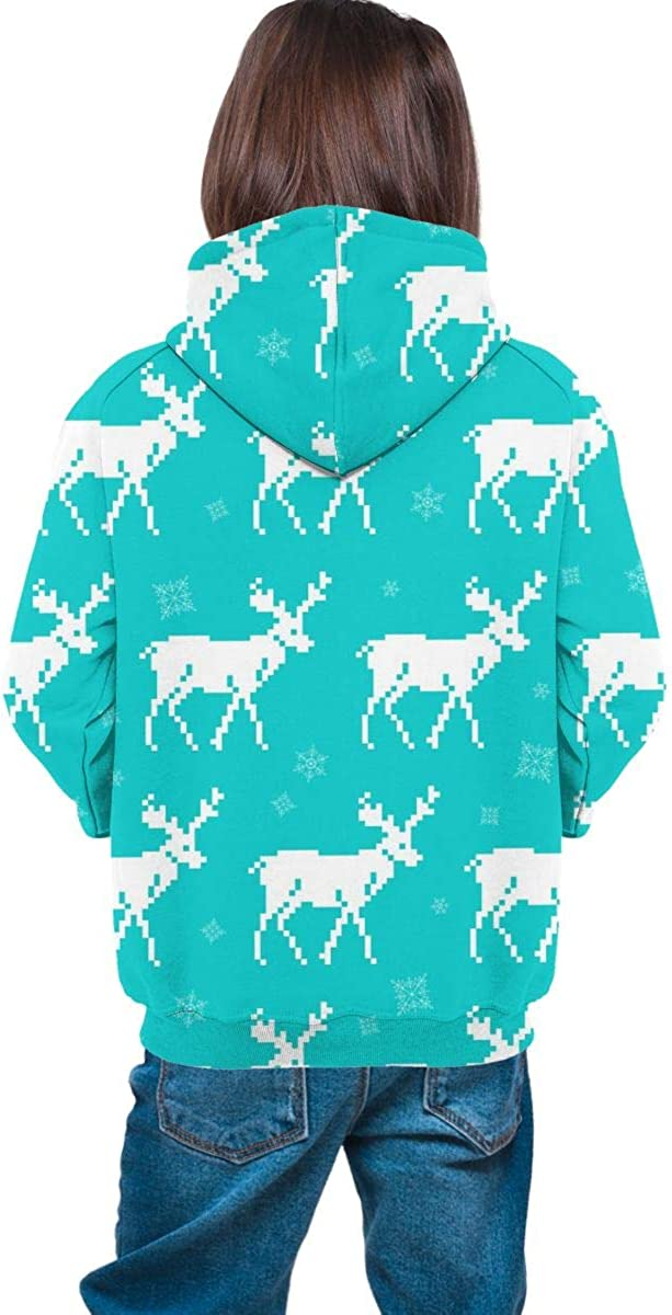Lichenran Christmas with Deers for Winter Holidays Men 3D Print Pullover Hoodie Sweatshirt with Front Pocket