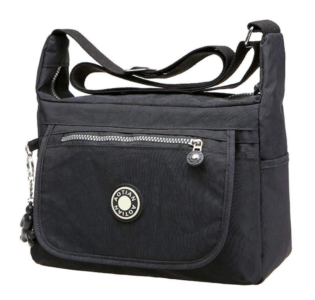 Bagtopia Large Capacity Casual Crossbody Bag Waterproof Nylon Shoulder messenger Bags Purse for women (Medium Size - Black)