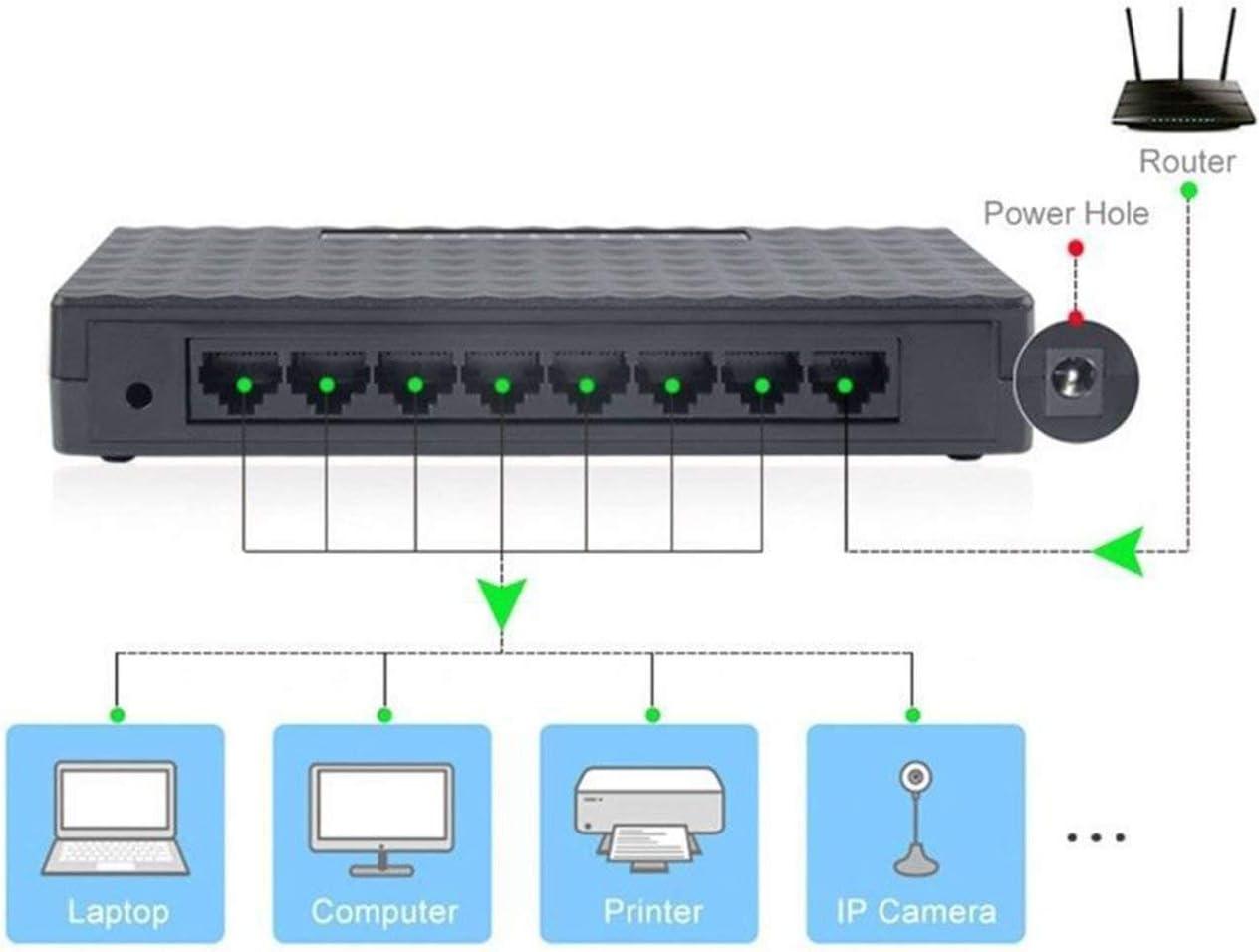 Liobaba 8-Port 10//100Mbps Ethernet Network Switch HUB Desktop Fast LAN Switcher Adapter