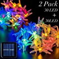 2 Pack Solar Strings Lights, GIGALUMI 20 Feet 30 LED Dragonfly Solar Fairy Lights, Garden Lights for Outdoor, Home, Lawn, Wedding, Patio, Party and Holiday Decorations- Multi Color