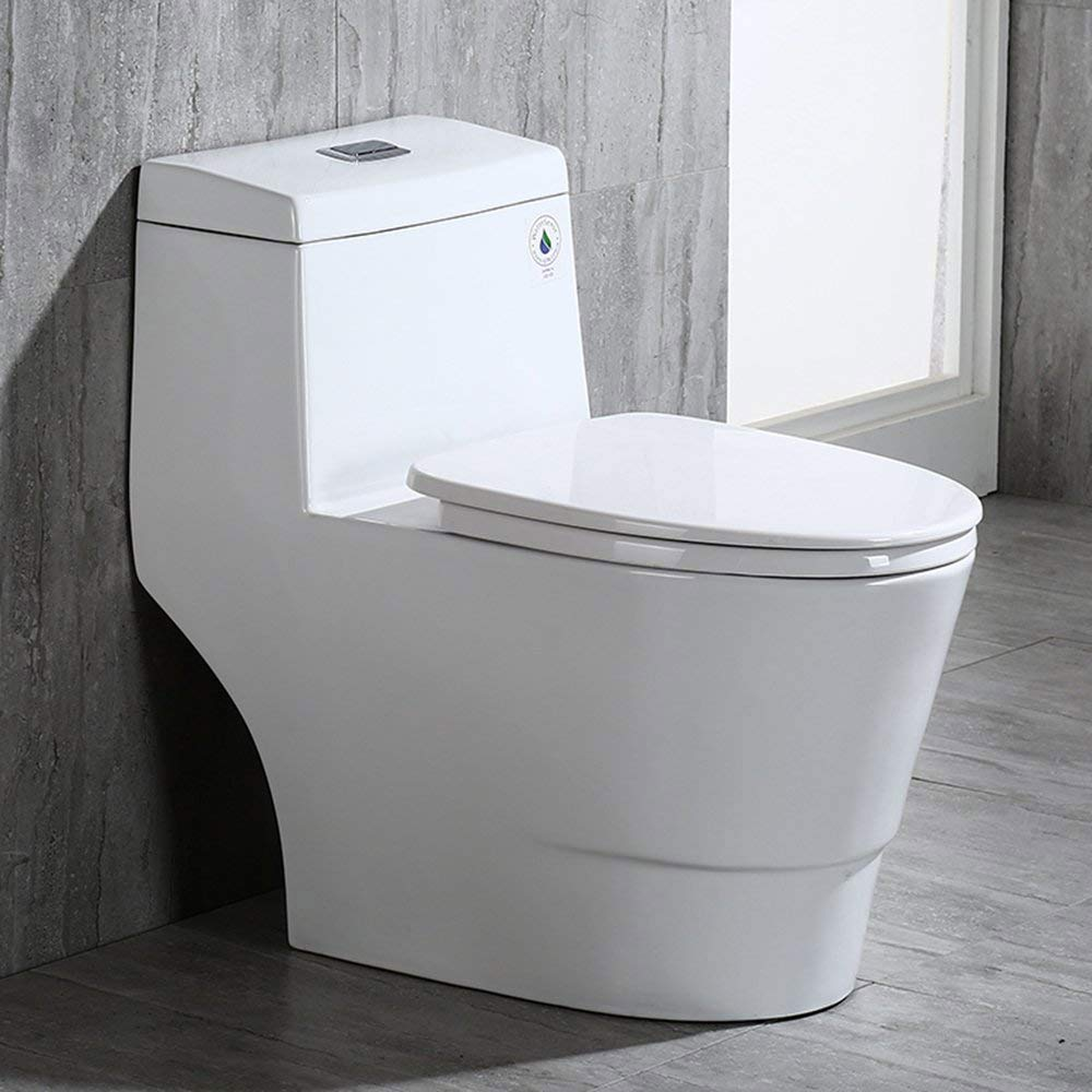 WOODBRIDGE T-0019, Dual Flush Elongated One Piece Toilet with Soft Closing Seat, Comfort Height, Water Sense, High-Efficiency, Rectangle Button, Cotton White by Woodbridge