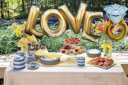 B.N.D TOP Love (40 Inch) and Diamond Ring (27 Inch) Extra Large Balloon Set, Independence Day, Festival, Romantic Wedding, Bridal Shower, Anniversary, Party Decor, Vow Renewal -