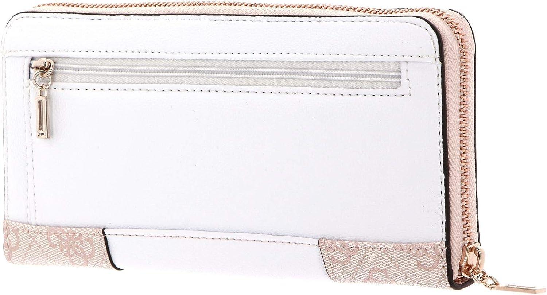 GUESS Mika SLG Large Zip Around Wallet Geldbörse Blush Rosa Weiß