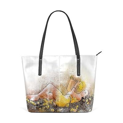 Womens Leather Top Handle Shoulder Handbag Sleep Beauty Large Work Tote Bag