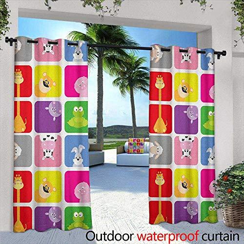 "LOVEEO Nursery Doorway Curtain Cartoon Animals in Colorful Frames Cute Pig Cow Giraffe Hippo Frog Rabbit Sheep Embossed Thermal Weaved Blackout 72"" W x 96"" L Multicolor"