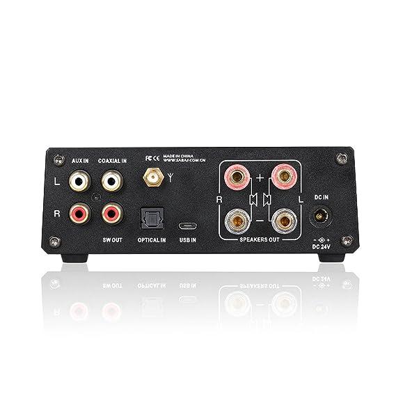 Sabaj A4 Amplificador digital estéreo de Bluetooth de audio de 80Wx2 BT 4.2 Clase D compatible con Apt-X Bluetooth, USB, entradas coaxiales, análogas, ...