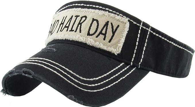 6effc226172 Amazon.com  H-201-BHD06 Ponytail Hat Visor - Bad Hair Day (Black ...