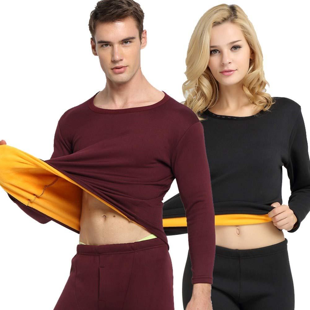 HNRYUDCF Thermo-Unterwäsche Herren Winter Damen Sets Warm halten bei kaltem Wetter Größe M bis 4XL Damen, XL Schwarz