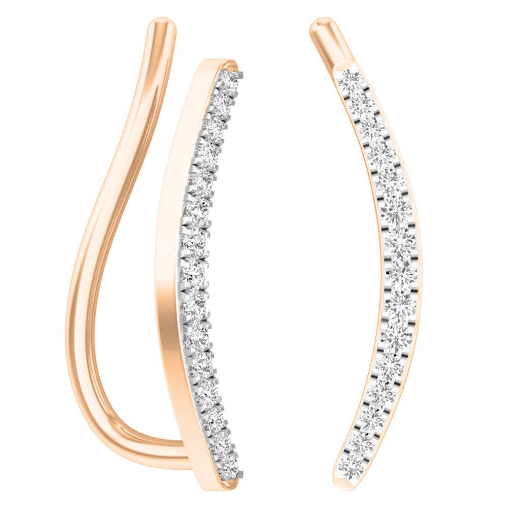 0.10 Carat (ctw) 18K Rose Gold Round White Diamond Ladies Crawler Climber Earrings 1/10 CT