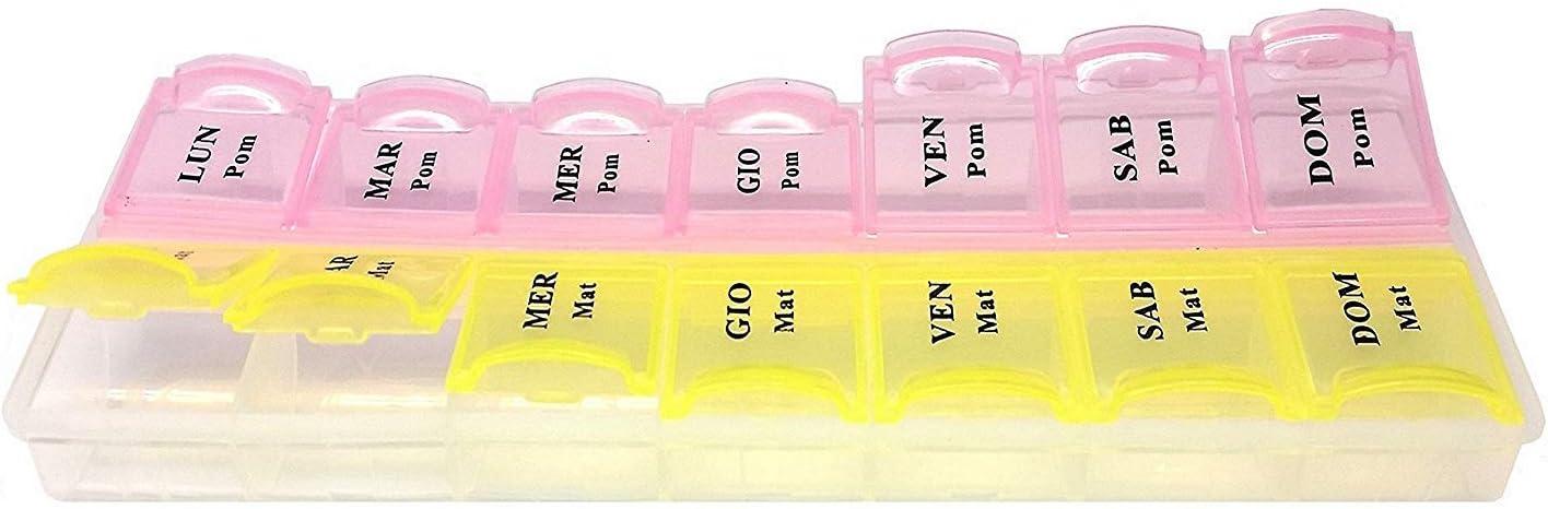 takestop/® Pastillero como Pastillero Semanal de 14/Compartimentos de pl/ástico ma/ñana por la Tarde medicamentos para terapias p/íldoras Color AL Azar