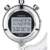 ZUZEN Cronómetro silencioso, cronómetro Deportivo Digital de Metal con Temporizador de Cuenta Regresiva, Memoria de 100 Vueltas, Pantalla Grande, Reloj Despertador Plateado