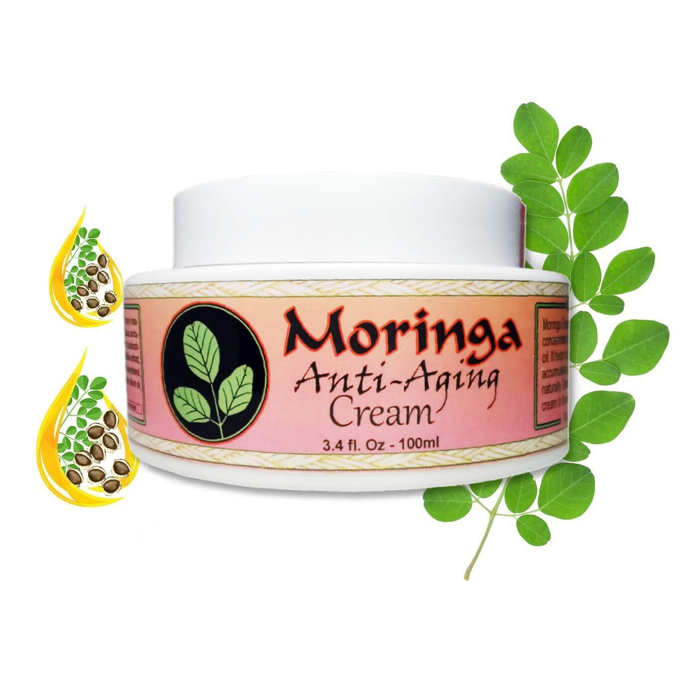 Moringa Anti Aging Cream 3.4 oz * Feel & Look Years Younger with 14 Powerful Ayurvedic Herbs Combined Together to Moisturize with Skin Loving Vitamins, Minerals & Antioxidants!