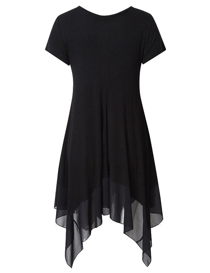 Cibeat Vestido de gasa con cuello en V y vestido de gasa de moda para mujeres Vestido irregular de canal¨¦ transpirable at Amazon Womens Clothing store: