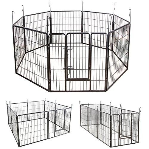 Songmics 8-tlg Welpenauslauf für Hunde Kaninchen und Andere Kleine Haustiere 80 x 80 cm (Farben auswählbar) (Grau)