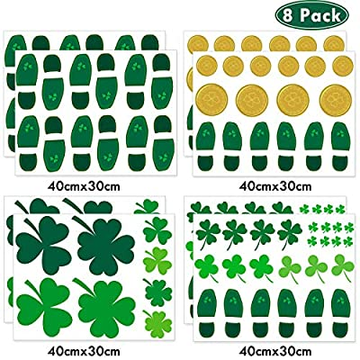 Whaline 24 Pairs St. Patrick's Day Leprechaun Footprints Floor Clings, 20 Pieces Shamrock Good Luck Coins and 52 Clover Wall Decal Window Stickers Party Decorations (8 Sheet)