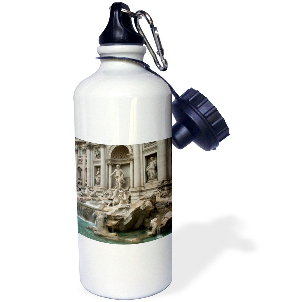 3dRose wb_47792_1 ''Trevi Fountain in Rome, Italy-Places to Travel'' Sports Water Bottle, 21 oz, White