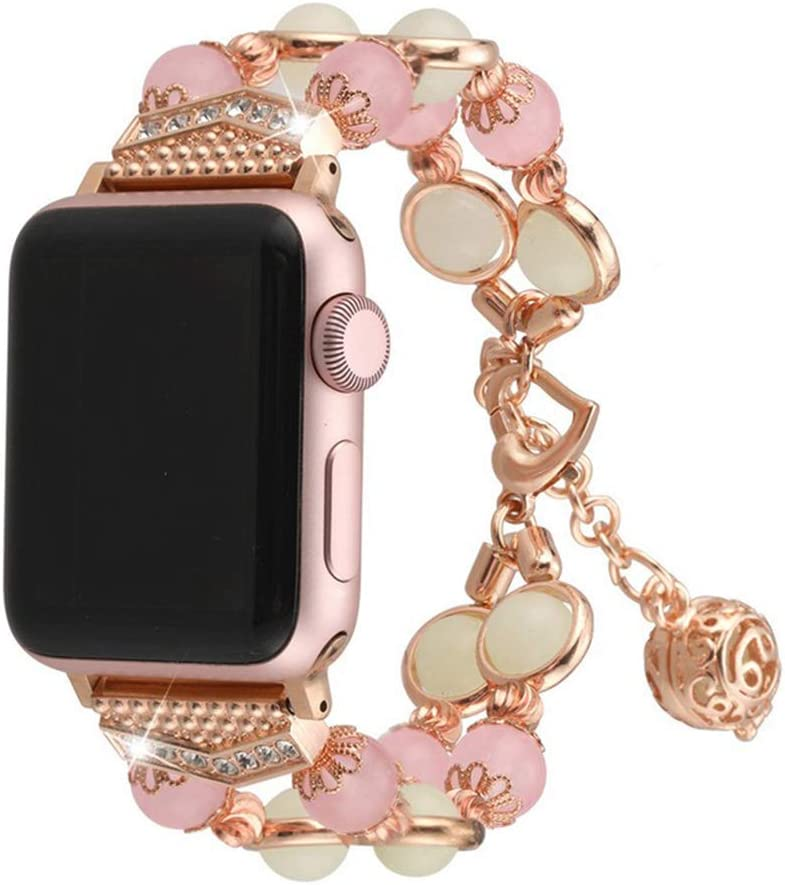 Compatible With Apple Watch 1/2/3/4/5 Series Iwatch Band Agate Luminous Beads Adjustable Jewelry 38mm 40mm 42mm 44mm Bracelet (Pink, 38/40mm)