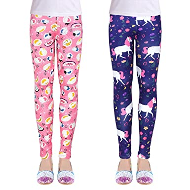 ZukoCert Stretchy Girls Leggings Tights Colorful Pattern Kids Pants 4-13 Years