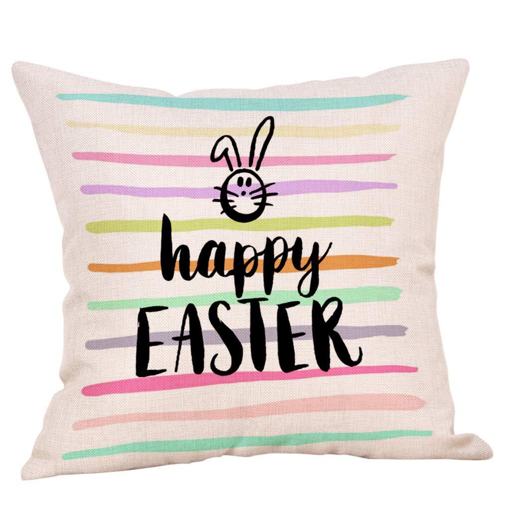 NPRADLA Cojin Fundas Easter Linen Square Rabbit Throw Pillow ...