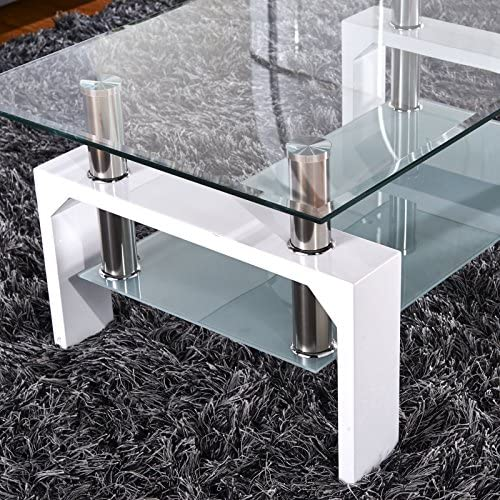 home, kitchen, furniture, living room furniture, tables,  coffee tables 10 discount SUNCOO Coffee Table Glass Top with Shelves Home promotion