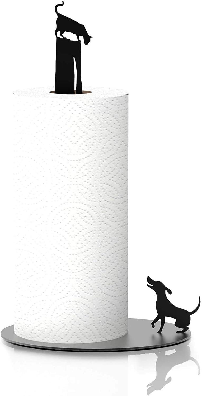Kitchen Decor Dog Vs. Cat - Black Metal Paper Towel Dispenser & Countertop Kitchen Paper Towel Holder - Cat Lover Gifts For Women, Funny Cat Gifts For Cat Lovers, Dog Lover Gifts For Women